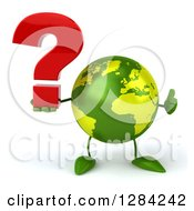 Clipart Of A 3d Green Earth Character Holding A Thumb Up And A Question Mark Royalty Free Illustration