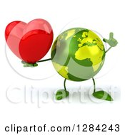 Clipart Of A 3d Green Earth Character Holding A Heart And A Finger Up Royalty Free Illustration
