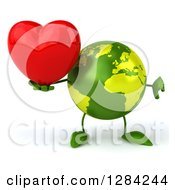 Clipart Of A 3d Green Earth Character Holding A Heart And Thumb Down Royalty Free Illustration