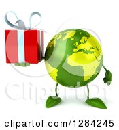Clipart Of A 3d Green Earth Character Holding A Gift Royalty Free Illustration