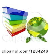 Clipart Of A 3d Green Earth Character Holding Up A Stack Of Books Royalty Free Illustration