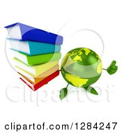 Clipart Of A 3d Green Earth Character Holding Up A Thumb And A Stack Of Books Royalty Free Illustration