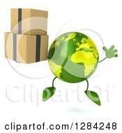 Clipart Of A 3d Green Earth Character Jumping And Holding Boxes Royalty Free Illustration