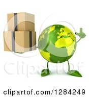 Clipart Of A 3d Green Earth Character Holding Up A Finger And Boxes Royalty Free Illustration
