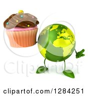 Clipart Of A 3d Green Earth Character Shrugging And Holding A Chocolate Frosted Cupcake Royalty Free Illustration
