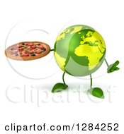 Clipart Of A 3d Green Earth Character Shrugging And Holding A Pizza Royalty Free Illustration