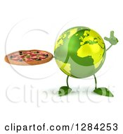 Clipart Of A 3d Green Earth Character Holding Up A Finger And A Pizza Royalty Free Illustration