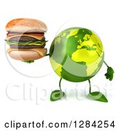 Clipart Of A 3d Green Earth Character Holding A Double Cheeseburger Royalty Free Illustration