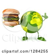 Clipart Of A 3d Green Earth Character Holding Up A Finger And A Double Cheeseburger Royalty Free Illustration