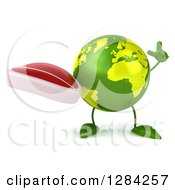 Clipart Of A 3d Green Earth Character Holding Up A Finger And A Beef Steak Royalty Free Illustration