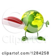 Clipart Of A 3d Green Earth Character Holding A Thumb Down And A Beef Steak Royalty Free Illustration