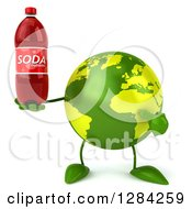 Clipart Of A 3d Green Earth Character Holding And Pointing To A Soda Bottle Royalty Free Illustration