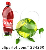 Clipart Of A 3d Green Earth Character Holding Up A Soda Bottle And Thumb Down Royalty Free Illustration