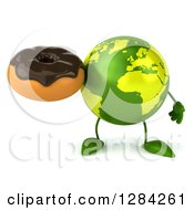 Clipart Of A 3d Green Earth Character Holding A Chocolate Frosted Donut Royalty Free Illustration