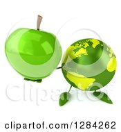 Clipart Of A 3d Green Earth Character Holding Up A Green Apple Royalty Free Illustration