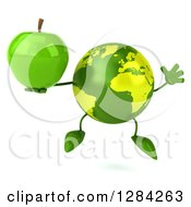Clipart Of A 3d Green Earth Character Jumping And Holding A Green Apple Royalty Free Illustration