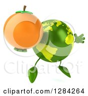 Clipart Of A 3d Green Earth Character Facing Slightly Right Jumping And Holding An Orange Royalty Free Illustration