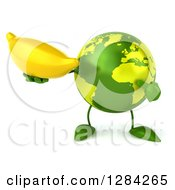 Clipart Of A 3d Green Earth Character Holding And Pointing To A Banana Royalty Free Illustration