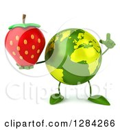 Clipart Of A 3d Green Earth Character Holding Up A Finger And A Strawberry Royalty Free Illustration