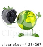 Clipart Of A 3d Green Earth Character Holding Up A Finger And A Blackberry Royalty Free Illustration