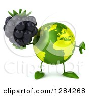 Clipart Of A 3d Green Earth Character Holding A Blackberry And Thumb Down Royalty Free Illustration
