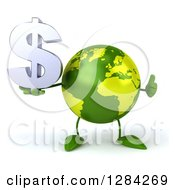 Clipart Of A 3d Green Earth Character Holding A Thumb Up And A Dollar Currency Symbol Royalty Free Illustration