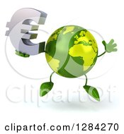 Clipart Of A 3d Green Earth Character Jumping And Holding A Euro Currency Symbol Royalty Free Illustration