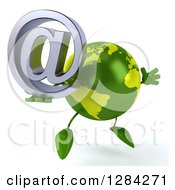 Clipart Of A 3d Green Earth Character Facing Slightly Right Jumping And Holding An Email Arobase At Symbol Royalty Free Illustration