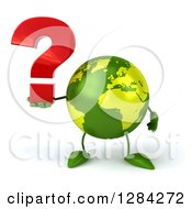 Clipart Of A 3d Green Earth Character Holding A Question Mark Royalty Free Illustration