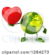 Clipart Of A 3d Green Earth Character Holding A Heart Royalty Free Illustration