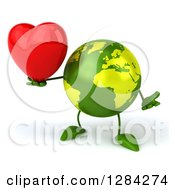 Clipart Of A 3d Green Earth Character Shrugging And Holding A Heart Royalty Free Illustration