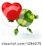 Clipart Of A 3d Green Earth Character Facing Slightly Right Jumping And Holding A Heart Royalty Free Illustration