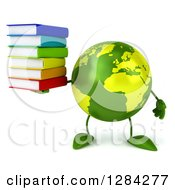 Clipart Of A 3d Green Earth Character Holding A Stack Of Books Royalty Free Illustration