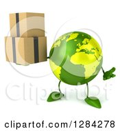 Clipart Of A 3d Green Earth Character Shrugging And Holding Boxes Royalty Free Illustration
