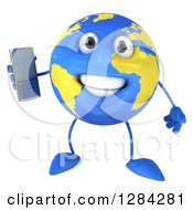3d Happy Blue And Yellow Earth Character Holding A Cell Phone