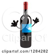 Clipart Of A 3d Blue Grape Label Wine Bottle Mascot Facing Right And Jumping 2 Royalty Free Illustration