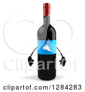 Clipart Of A 3d Blue Grape Label Wine Bottle Mascot Royalty Free Illustration by Julos