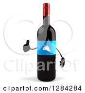 Clipart Of A 3d Blue Grape Label Wine Bottle Mascot Holding A Thumb Up Royalty Free Illustration