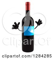 Clipart Of A 3d Blue Grape Label Wine Bottle Mascot Facing Right And Jumping Royalty Free Illustration