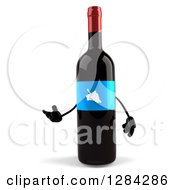 Clipart Of A 3d Blue Grape Label Wine Bottle Mascot Presenting To The Left Royalty Free Illustration