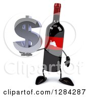 Clipart Of A 3d Red Grape Label Wine Bottle Mascot Holding A Dollar Currency Symbol Royalty Free Illustration