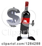 Clipart Of A 3d Red Grape Label Wine Bottle Mascot Holding A Thumb Up And A Dollar Currency Symbol Royalty Free Illustration
