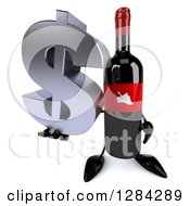 Clipart Of A 3d Red Grape Label Wine Bottle Mascot Holding Up A Dollar Currency Symbol Royalty Free Illustration