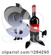 Clipart Of A 3d Red Grape Label Wine Bottle Mascot Holding Up A Dollar Currency Symbol And Thumb Down Royalty Free Illustration