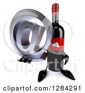 Clipart Of A 3d Red Grape Label Wine Bottle Mascot Holding Up An Email Arobase At Symbol Royalty Free Illustration