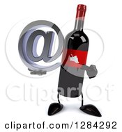 Clipart Of A 3d Red Grape Label Wine Bottle Mascot Holding And Pointing To An Email Arobase At Symbol Royalty Free Illustration