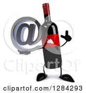 Clipart Of A 3d Red Grape Label Wine Bottle Mascot Holding Up A Finger And An Email Arobase At Symbol Royalty Free Illustration