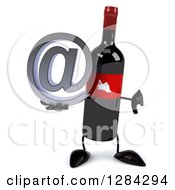 Clipart Of A 3d Red Grape Label Wine Bottle Mascot Holding A Thumb Down And An Email Arobase At Symbol Royalty Free Illustration