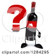 Clipart Of A 3d Red Grape Label Wine Bottle Mascot Holding A Question Mark Royalty Free Illustration