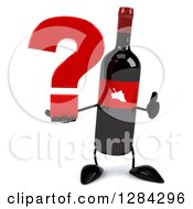 Clipart Of A 3d Red Grape Label Wine Bottle Mascot Holding A Thumb Up And A Question Mark Royalty Free Illustration